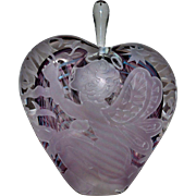 Rare Marialyce Hawke Intaglio Glass Perfume Bottle w/ Cherub & Flowers Signed Mint Putti Angel