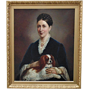 19th Century Portrait of Lady Woman w/ Her King Charles Cocker Spaniel Dog Painting Oil on Canvas Signed Benjamin Cam Norton Antique Victorian