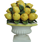 Italian Style Urn with Lemons Fruit Majolica Faience Centerpiece
