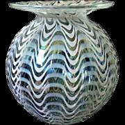 Vintage White Opalescent Art Glass Vase Hand-Blown