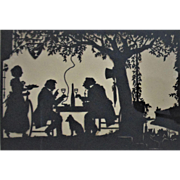 19th c Victorian Folk Art Silhouette Cut Paper Elaborate Antique Signed