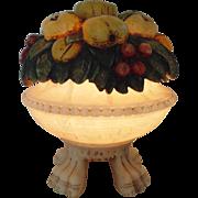 Italian Carved Alabaster Lamp Fruit Bowl Italy Art Deco Modern c. 1930s Vintage