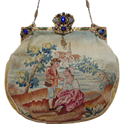 19c French Aubusson Tapestry Purse Scenic Romantic w/ Jeweled Frame