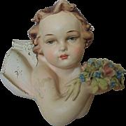 Italian Antonio Borsato Porcelain Cherub Angel Wall Plaque Sculpture Figurine Murano