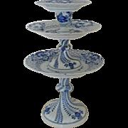Meissen Blue Onion Pedestal Tazza Dessert Server Tidbit Tray German Dresden Porcelain Plates