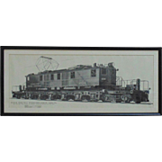 1929 New York Central Train Locomotive Engine Print w/ Specs Alvin Al Staufer Electric Cleveland Union Terminal