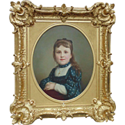 French Victorian Little Girl Portrait Oil Painting w/ Gilt Wood Antique Picture Frame Signed Edouard Amable Onslow c. 1892 Young Lady Child