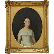 19th c. French Empire Little Girl Portrait Painting w/ Antique Gilt Wood & Gesso Picture Frame c. 1815 Young Lady Child