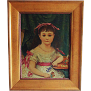 19th c. Richard L. Alldridge Little Girl Portrait Oil Painting on Board Antique Victorian Young Lady English England