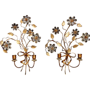Pair Italian Tole Wall Sconces Gilt Metal w/ Glass Flowers Vintage Candle Holders Italy
