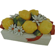 Modern Italian Lemon & Daisy Centerpiece Mid Century Vintage Majolica Faience Italy Fruit & Flowers