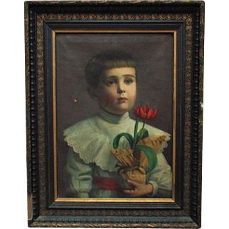 19th c. Victorian Little Boy Portrait Oil on Canvas Painting w/ Antique Wood Frame Young Man with Flowers Tulips Aesthetic Eastlake Child