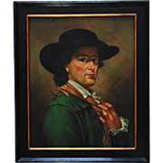 19th c. French Portrait of a Handsome Gentleman Man Oil on Canvas w/ Antique Wood Frame Signed Painting
