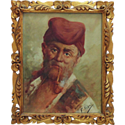 Vintage Italian Portrait Painting Man Gentleman Slouch Hat & Pipe Oil on Canvas Fancy Gilt Wood Frame Italy Signed F. Viani