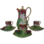 Victorian Roses Chocolate Set Pot Cups Saucers Wittelsbach German Germany Fine Porcelain Hand-Painted Antique