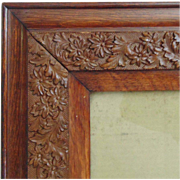 Antique Picture Frame Oak Wood & Gesso Arts & Crafts Mission Bungalow