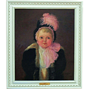 "Antique American Portrait Painting Girl Child Oil on Canvas Signed Josephine Bradstreet c. 1916 ""Eulalie"""