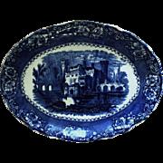 """LARGE 16.5"""" Flow Blue & White Platter Alfred Meakin Alhambra Pattern Transferware Ironstone Castle Flowers"""