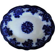 19c Flow Blue Serving Plate Platter New Wharf Waldorf Pattern Transferware Flowers England English