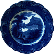 19c Flow Blue Charger Plate Royal Staffordshire Jenny Lind Pattern Ironstone Transferware People Castle England English