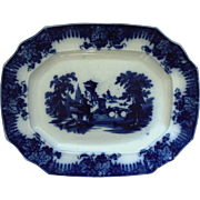 19th c. Flow Blue & White Platter T. F. & Co. Furnival Rhone Transferware Ironstone England English