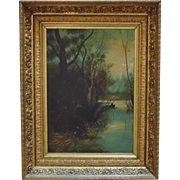 19th c. Oil Painting Deer & Human Woods Lake in Antique Gilt Wood & Gesso Ornate Picture Frame