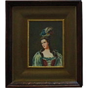 Antique Miniature Portrait Lady Woman Painting Hand-Painted Signed Ralli