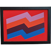 """BOLD Gerald Johnson Serigraph Modern Abstract """"Positively Four Stripes"""" Signed"""