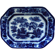 LARGE 19th c. Flow Blue & White P. W. & Co. Turkey Platter Podmore Walker & Co. Manilla Ironstone Transferware Stoneware Antique English England