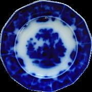 19th c. Flow Blue & White Plate J. & G. Alcock Scinde Pattern Oriental Stone Ware Transferware Antique English England