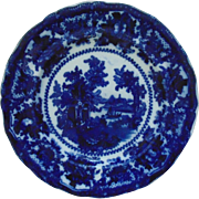 "19th c. Flow Blue Plate William Adams Fairy Villas 9"" Transferware Antique English England"