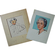 2 Original Vintage Lloyd Rognan Illustrations Portraits Women Ladies Listed Artist