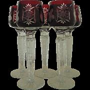 5 Ruby Bohemian Crystal Glass Cordials Stemware Cut to Clear Liquor Liqueur Stems