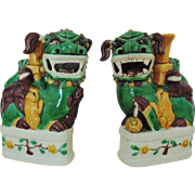 Pair Antique Chinese Porcelain Foo Dogs / Lions Enameled Signed Bud Vases w/ Movable Parts
