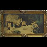 19c Antique Victorian Cherub Putti Print in Fancy Wood & Gesso Frame