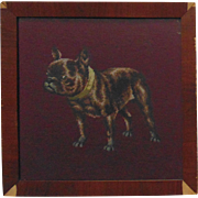 19c Antique Victorian Pug Dog Needlework Petit Point w/ Wood Frame