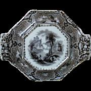 19c Antique Mulberry Under Plate Underplate for Casserole Tureen Teapot Transferware John Alcock Cobridge Vincennes England English