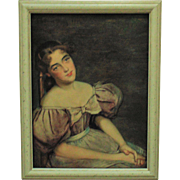 19c Victorian Watercolor Painting Portrait Young Girl Lady Signed William Verplanck Birney 1886 Antique