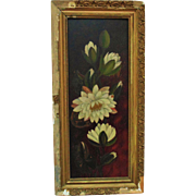 19c Victorian Oil Painting of Water Lilies Flowers Floral Still Life w/ Original Gilt Wood and Gesso Picture Frame Antique Shabby Cottage Chic