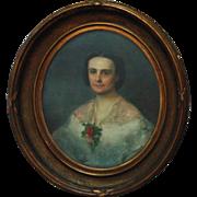 19th c. Victorian Pastel Portrait Young Lady Woman Antique Federal Frame Gilt Wood & Gesso