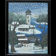Vintage Janet Munro Folk Art Painting Gouache North Bay Light House Lighthouse Fishing Signed Primitive
