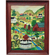 Vintage Janet Munro Folk Art Oil Painting Fishing on Oaks Creek Otsego County, New York, Signed Primitive