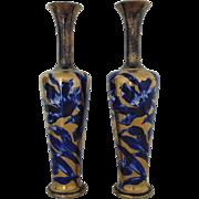 Pair 19c Flow Blue Porcelain Vases w/ Gold Gilt Antique English Victorian Floral Mantle Pieces