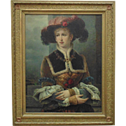 19th c. Victorian Portrait Painting Woman Aristocratic Lady European School Oil on Canvas Antique Gilt Wood & Gesso Aesthetic Eastlake Frame