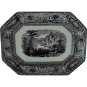 Antique T. Walker Flow Black Mulberry Platter Tavoy Transferware Ironstone c. 1840 English England Staffordshire