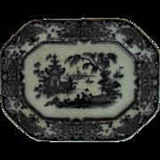 19c Antique Mulberry Flow Black Platter Ironstone Transferware P W & Co. Corean England English Staffordshire
