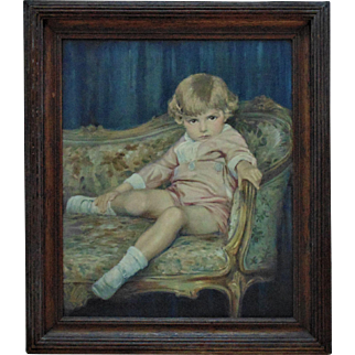 Antique Child Portrait Painting Oil on Canvas Signed Clarence W. Snyder