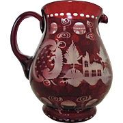 Vintage Bohemian Ruby Red Etched Glass Water Pitcher Deer Czech Czechoslovakian