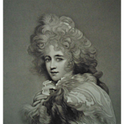 LARGE 19c Victorian Mezzotint Engraving Miss Elizabeth Farren Countess of Derby Sir Thomas Lawrence Engraved by M. Cormack Antique