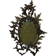 19c Antique French Rococo Bronze Picture Frame for Miniature Painting Photograph Photo or Portrait